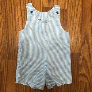 Vintage Homemade Baby Blue Striped Romper